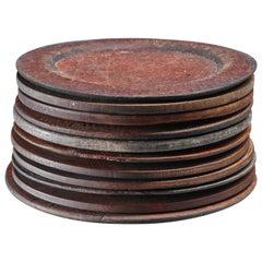 Set of Eleven Wooden Folk Art Dinner Plates, Sweden, 19th Century