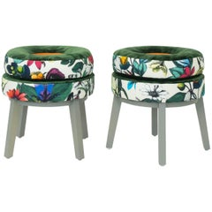 Small Round Stools with Velvet and Butterfly Floral Patterned Fabric
