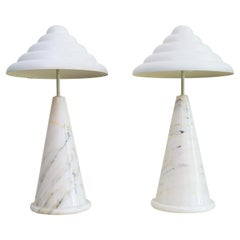 German Table Lamps in Carrara Marble Memphis Style by Vereinigte Werkstätten