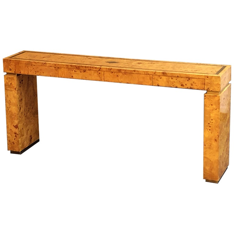 French Art Deco Burr Wood Console Table Attributed to Jean Claude Mahey For Sale