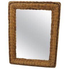 Vintage Large Rectangular Bamboo Mirror with Rounded Corners