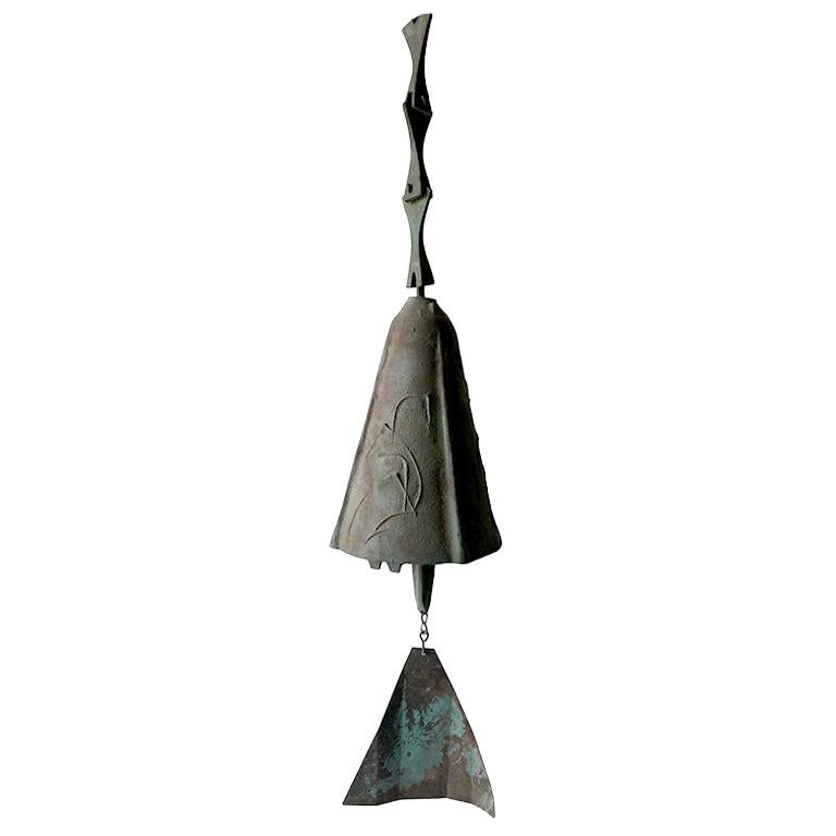 Vintage Paolo Soleri Midcentury Modern Bronze Bell For Sale