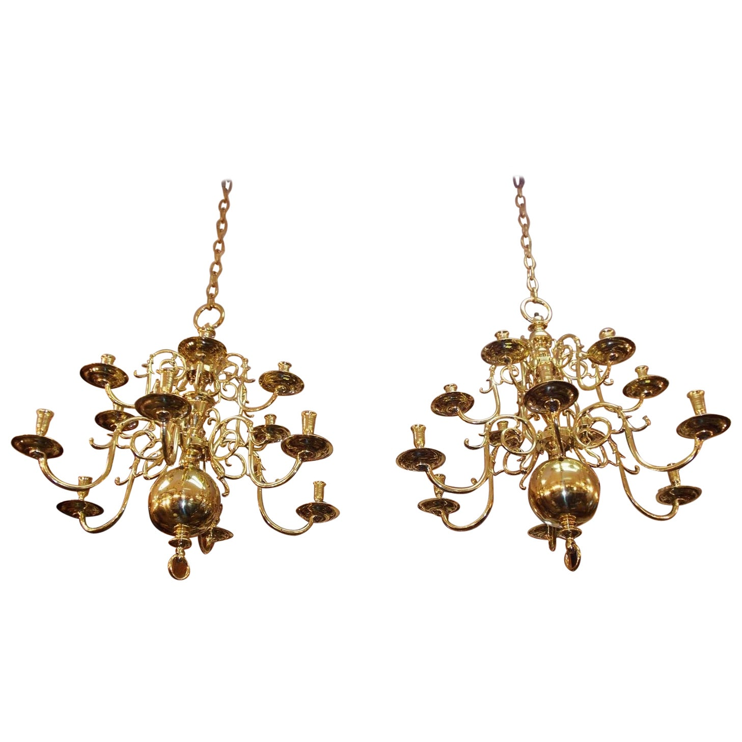 Pair of Dutch Colonial Two-Tiered Bulbous and Scrolled Chandeliers, Circa 1750
