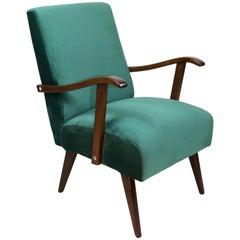 Vintage Armchair in Green Velvet from 1970s