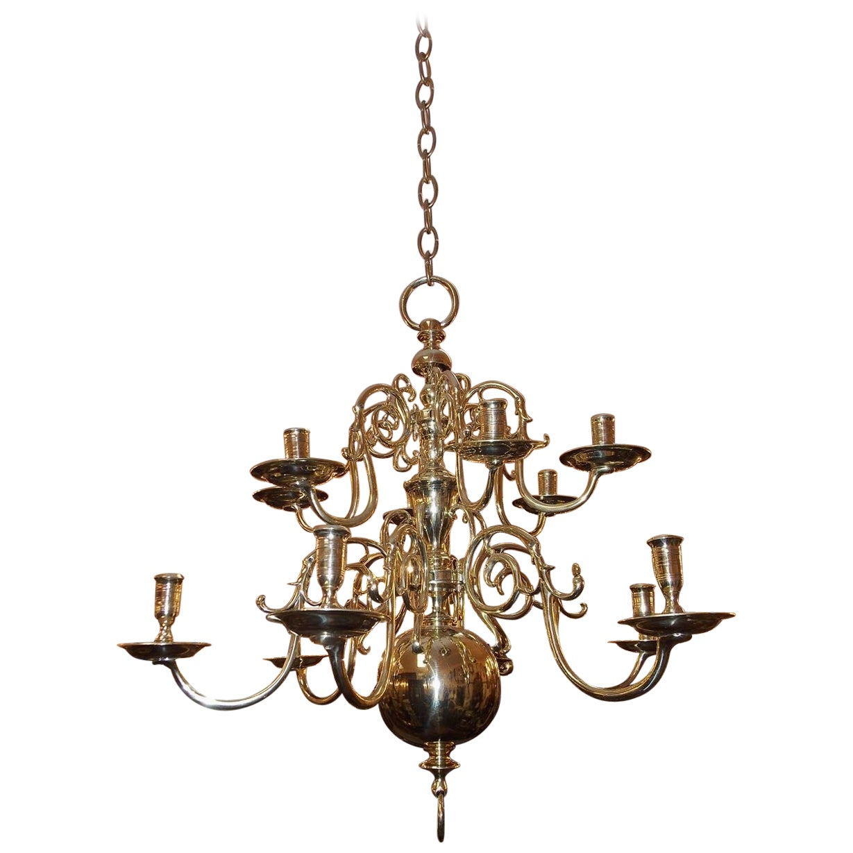 Dutch Colonial Brass Two-Tier Bulbous and Scrolled Chandelier, Circa 1760