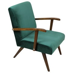 Small Vintage Armchair in Green Velvet from 1970s