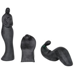 Italian Trio of  black Sculptures Blown Murano Glass  Romano Donà, contemporary