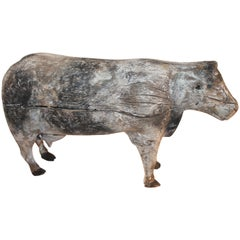 Folk Art Hand Carved Cow