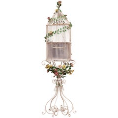 Early 20th Century French Art Nouveau Painted Birdcage on Stand