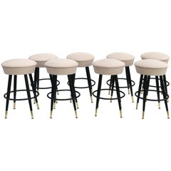 Set of 8 Vintage Swiveling Bar Stools