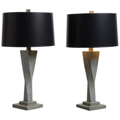 Pair of Twisted Grey Ceramic Table Lamps, America, circa 1950