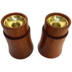 Pair of Midcentury Danish Modern Dansk Teak Candleholder