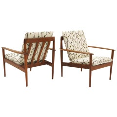 Pair of Danish Modern Lounge Chairs by Greta Jalk, Teak with New Cushions