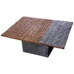 Copper and Stainless Coated Terracotta Table