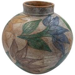 Mexican Antique Dolores Porras Clay Pottery Folk Art Flower Vessel Vase