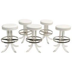 Set of Five Swiveling Lucite Bar Stool
