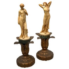 Pair of Art Deco Ivorine Nudes, Signed F. Preiss