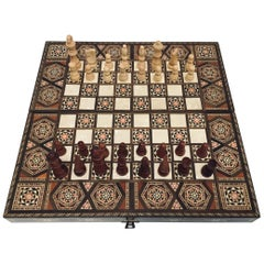 Vintage Midcentury Large Complete Syrian Inlaid Mosaic Backgammon and Chess Game