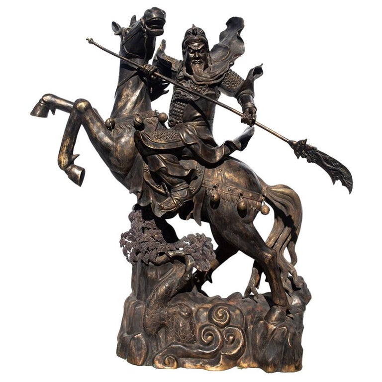 Life-Size Bronze of Chinese General Guandi on Horseback For Sale