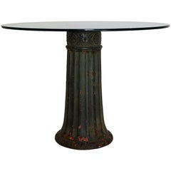 Antique Cast Iron Dining Center Table with Glass Top, American, circa 1910
