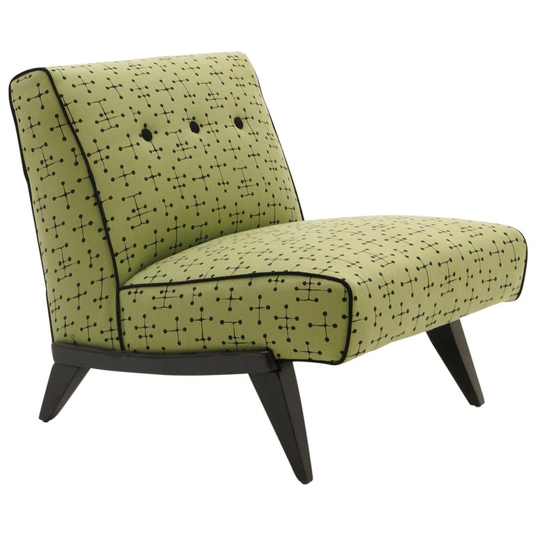 Midcentury Armless Lounge / Slipper Chair Newer Green Eames Fabric by Maharam For Sale