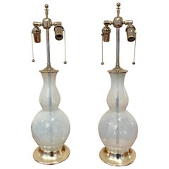 Pair of Opalesent Murano Glass Lamps on White Gold Turned Wood Bases