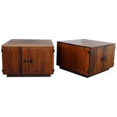 Pair of Rosewood Midcentury Square End Table Cabinets