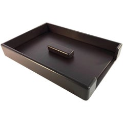 Knoll Leather Wrapped Leather Paper Desk Tray by Smokador in Chocolate Brown