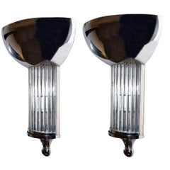 Matching Pair of Large Chrome and Glass Art Deco Style Wall Light Sconces