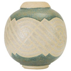 Cream and Blue Vase with Sgraffito Knot Pattern