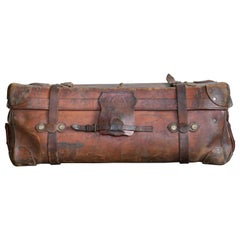 English Leather Travel or Steamer Trunk by John Pound & Co. England, circa 1883