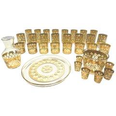 Midcentury 35 Piece Culver Valencia 24 Karat Gold Barware Glasses Set