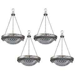 Set of Four Cut Glass Silver Mounted Dish Lights by F&C Osler