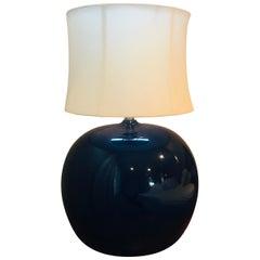 Large Pair of 1960s Portuguese 1970s Cobalt Blue Pottery Table Lamps