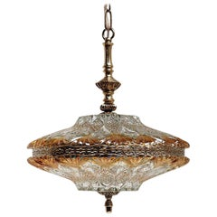Danish Midcentury Glass and Brass Chandelier by J. Sommer, 1960s