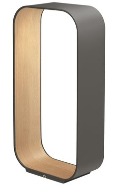 Contour Large Table Lamp in Graphite and White Oak by Pablo Designs