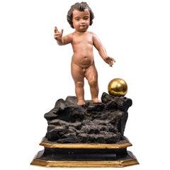 18th Century Spanish Triumphant Infant Jesus Polychrome Sculpture