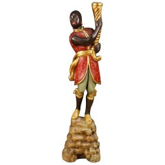 20th Century Lacquered and Gilded Wood and Plaster Italian Moor Sculpture, 1880