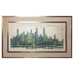Midcentury Bernard Buffet New York Skyline Limited Edition Lithograph Print