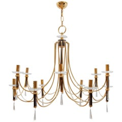 Large Brass Chandelier by Prearo Luce, Italy, 1980s