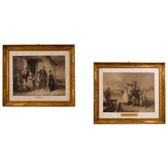 19th Century French Pair of Antique Prints, 1870