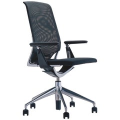 Vitra Meda Chair in Blue Grey Twill by Alberto Meda