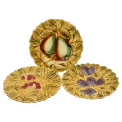 Art Nouveau Majolica Fruit Pattern in Relief, Whit Sarreguemines Stamp
