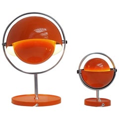 Orange Moon Light Table Lamps by Brylle & Jacobsen, Danish Space Age, 1970s
