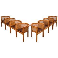 Oak and Cane Armchairs 'Model 5' by Ilse Rix for Uldum Møbelfabrik 1961 Set of 8