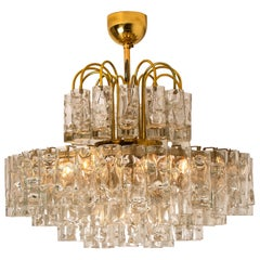 Doria Five-Tiers Blown Glass and  Brass Chandelier, 1960