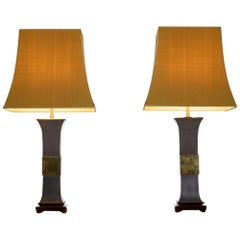 Pair of 1970s Metal and Brass Lamps