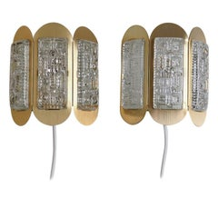 Danish Mid-Century Brass Sconces with Glass Pieces Made by Vitrika, 1960s