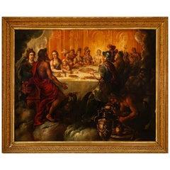 """Wedding of Tethys and Peleus"", Oil on Canvas, School of Madrid, Spain"