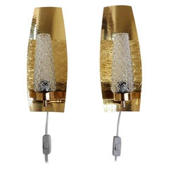 Pair of Brass Sconces with Glass Shades, Scandinavian Design from the 1960s